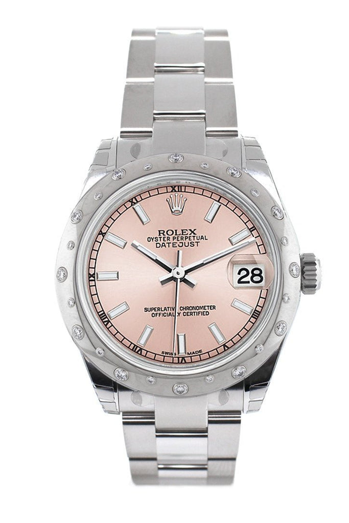 Rolex Datejust 31 Pink Dial Dome set with Diamonds Bezel Ladies Watch 178344