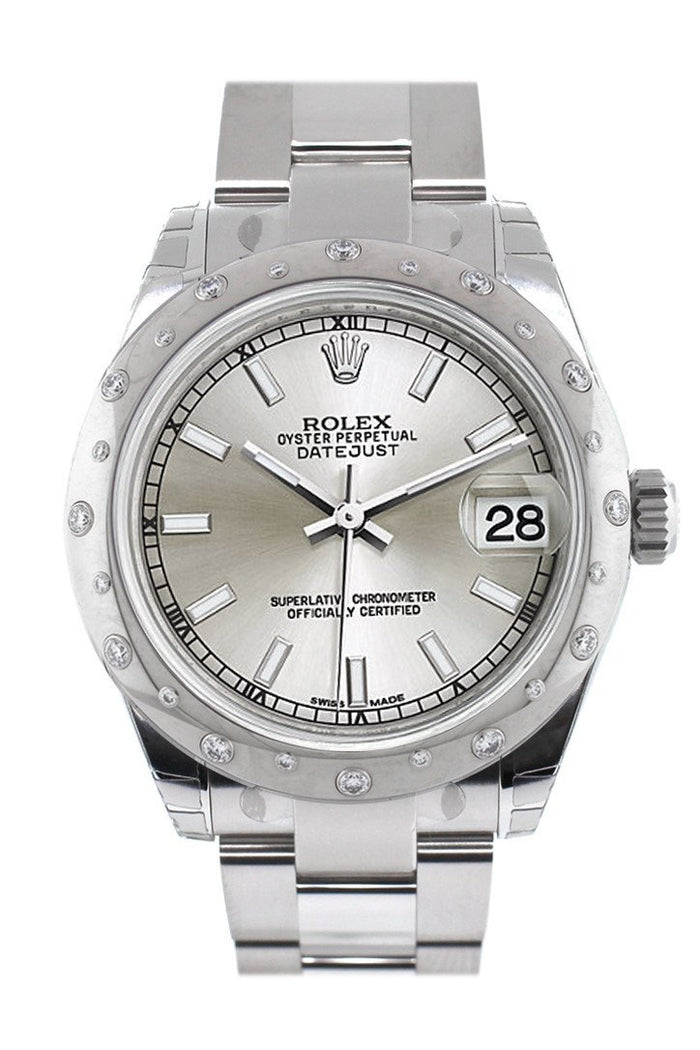 Rolex Datejust 31 Silver Dial Dome set with Diamonds Bezel Ladies Watch 178344