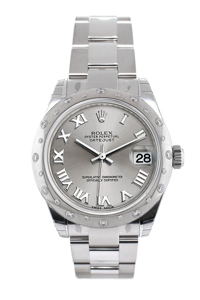 Rolex Datejust 31 Silver Roman Dial Dome set with Diamonds Bezel Ladies Watch 178344