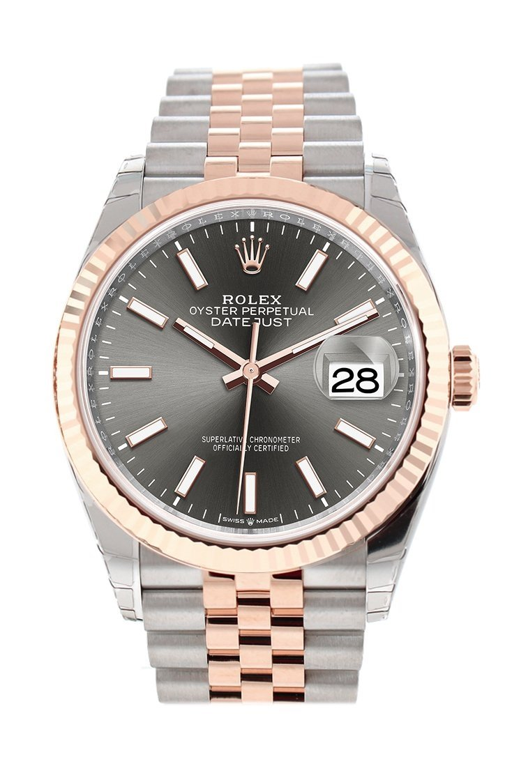Rolex Datejust 36 Dark Rhodium Dial Fluted Rose Gold Two Tone Jubilee Watch 126231