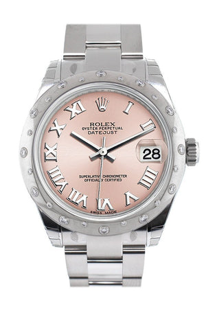 Rolex Datejust 31 Pink Roman Dial Dome Set With Diamonds Bezel Ladies Watch 178344 / None