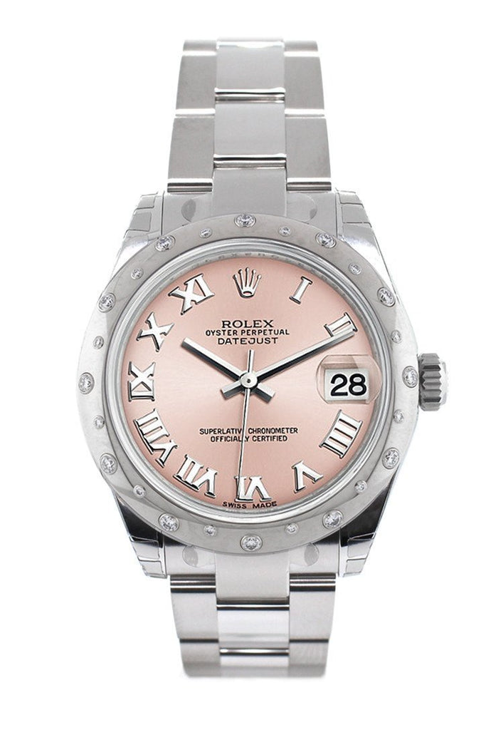 Rolex Datejust 31 Pink Roman Dial Dome set with Diamonds Bezel Ladies Watch 178344