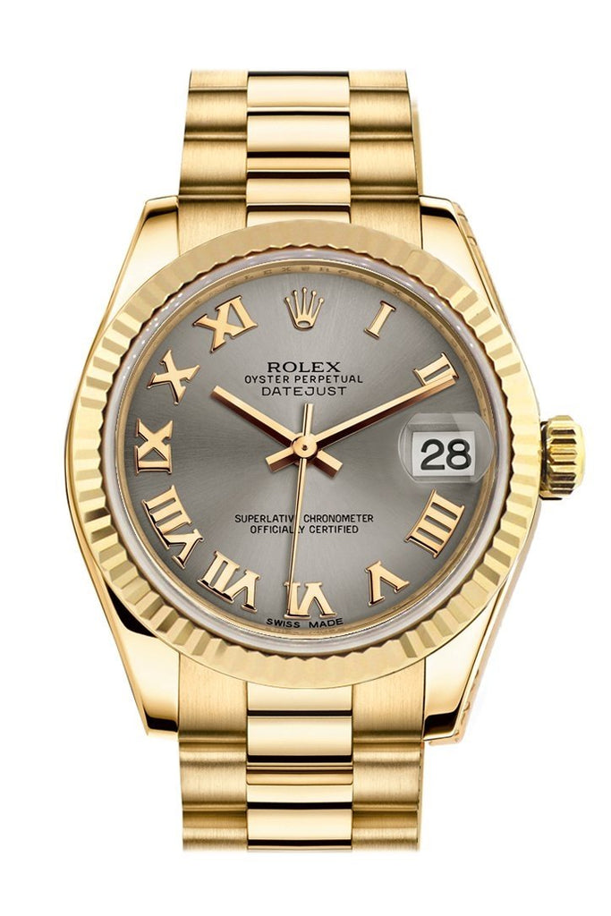 Rolex Datejust 31 Steel Roman Dial Fluted Bezel 18K Yellow Gold President Ladies Watch 178278 / None