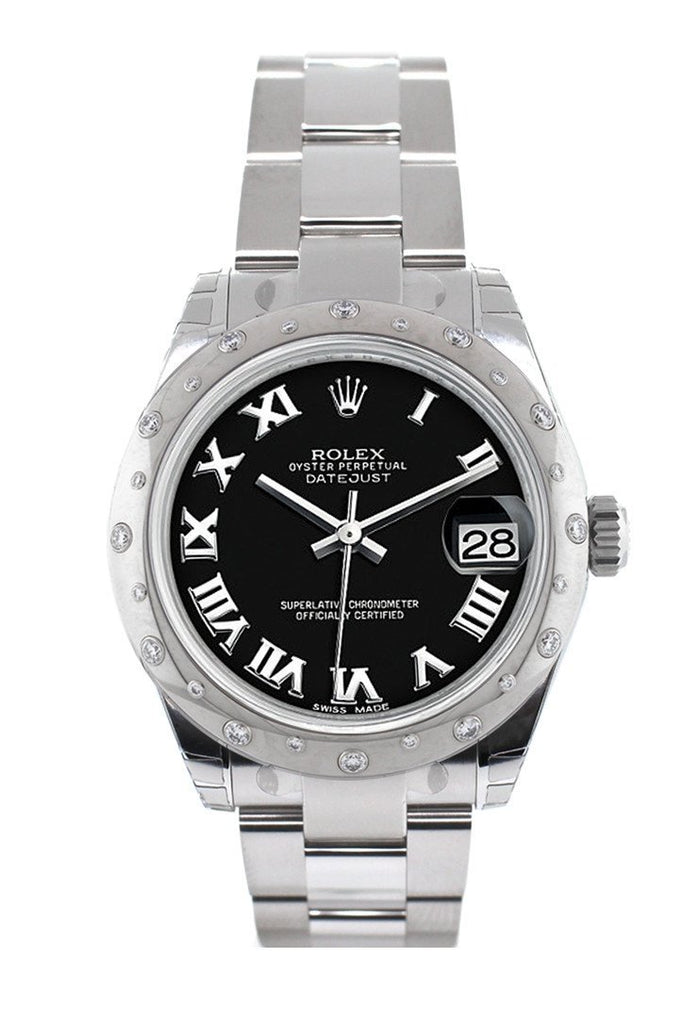 Rolex Datejust 31 Black Roman Dial Dome set with Diamonds Bezel Ladies Watch 178344