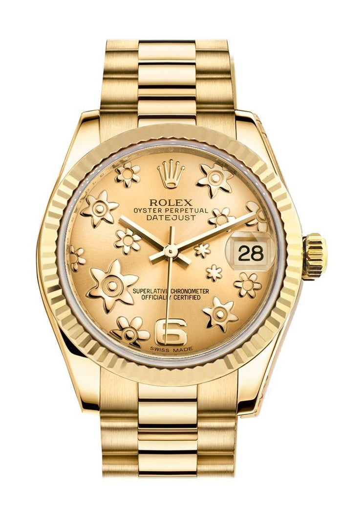 Rolex Datejust 31 Champagne Floral Motif Dial Fluted Bezel 18K Yellow Gold President Ladies Watch 178278