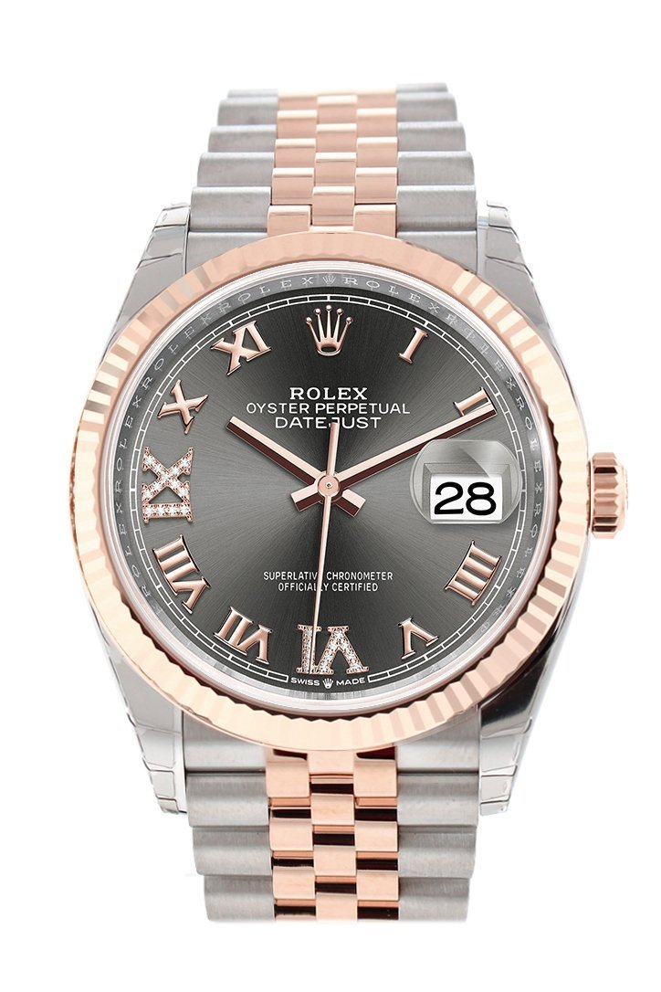 Rolex Datejust 36 Dark Rhodium Set With Diamonds Dial Fluted Rose Gold Two Tone Jubilee Watch 126231