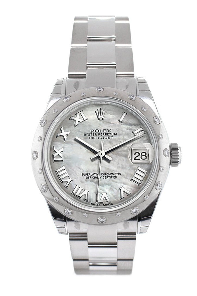 Rolex Datejust 31 White Mother Of Pearl Roman Dial Dome Set With Diamonds Bezel Ladies Watch 178344