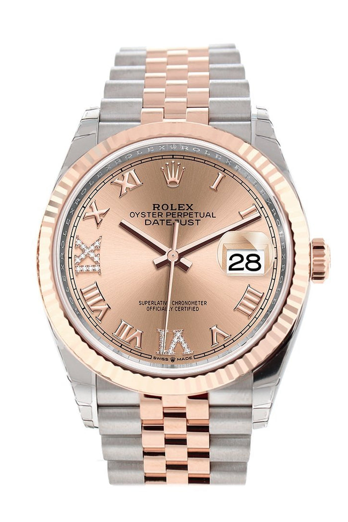 Rolex Datejust 36 Rose Set with Diamonds Dial Fluted Rose Gold Two Tone Jubilee Watch 126231