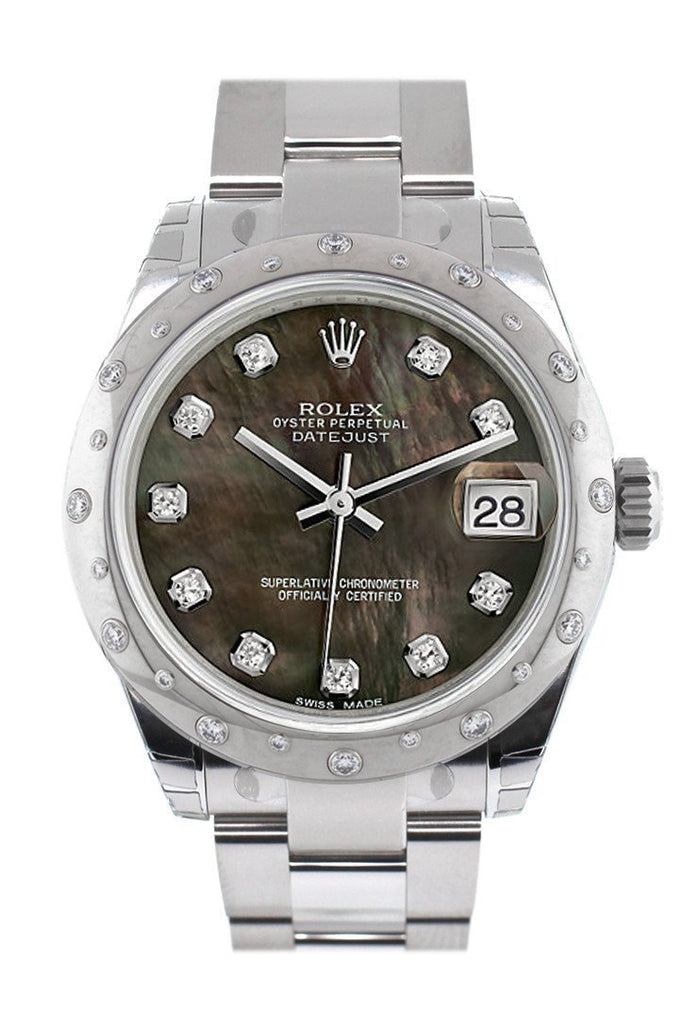 Rolex Datejust 31 Black Mother Of Pearl Diamond Dial Dome Set With Diamonds Bezel Ladies Watch