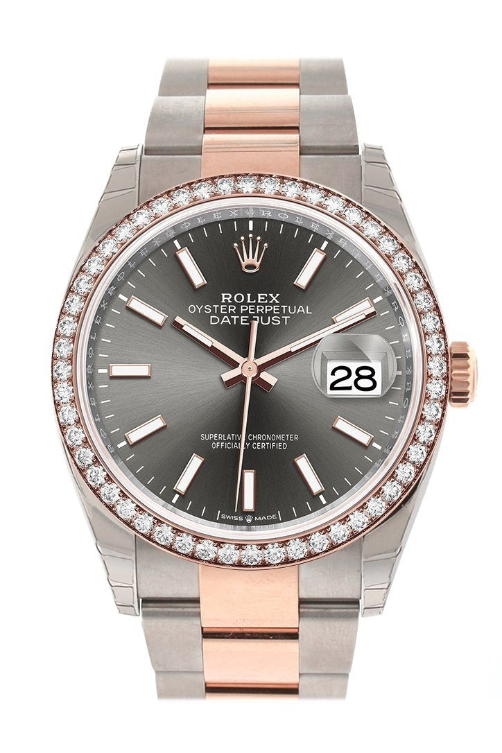Rolex Datejust 36 Dark Rhodium Dial Diamond Bezel Rose Gold Two Tone Watch 126281Rbr