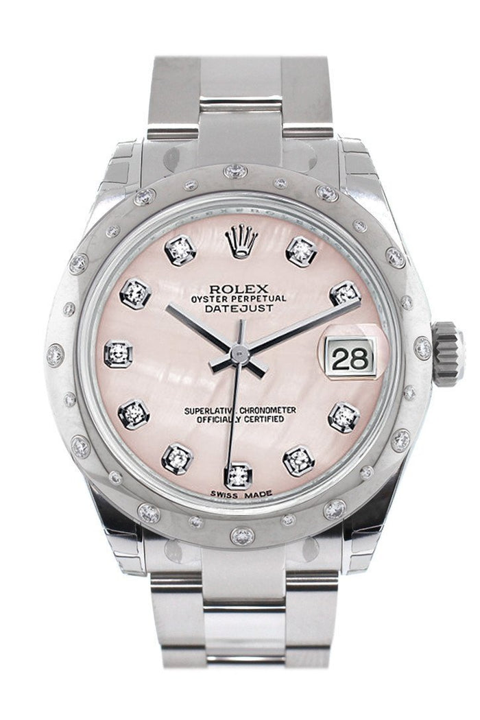 Rolex Datejust 31 Pink Mother of Pearl Diamond Dial Dome set with Diamonds Bezel Ladies Watch 178344