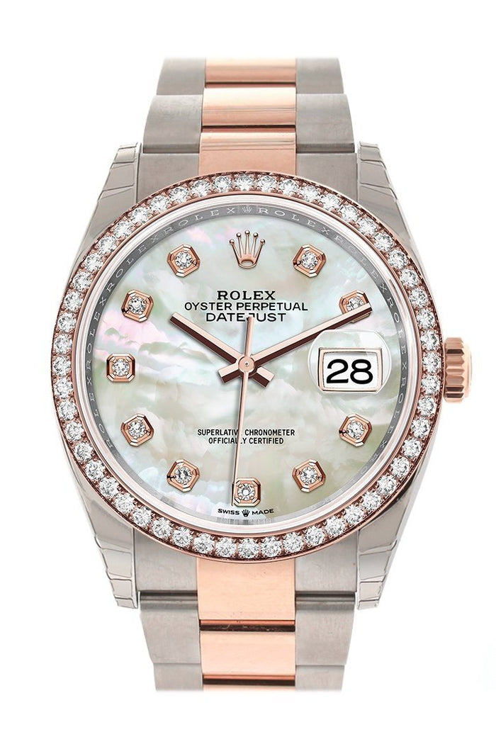 Rolex Datejust 36 White Mother-of-Pearl Set with Diamonds Dial Rose Gold Two Tone Watch 126281RBR