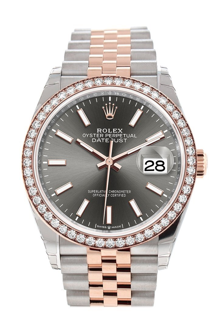 Rolex Datejust 36 Dark Rhodium Dial Diamond Bezel Rose Gold Two Tone Jubilee Watch 126281Rbr