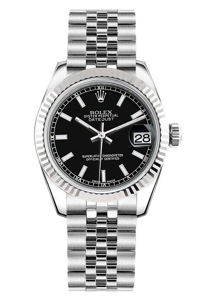 Rolex Datejust 31 Black Dial White Gold Fluted Bezel Jubilee Ladies Watch 178274