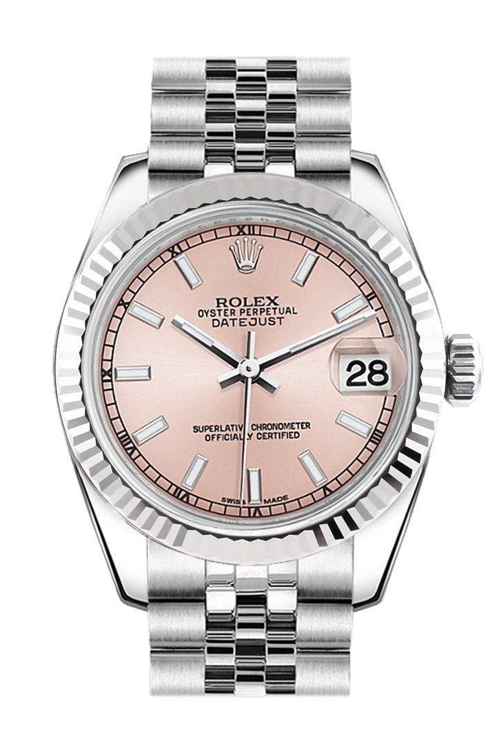 Rolex Day-Date 36 Rhodium Roman Dial Fluted Bezel President White Gold Watch 118239