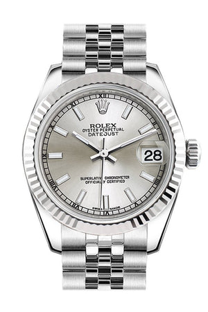Rolex Datejust 31 Silver Dial White Gold Fluted Bezel Jubilee Ladies Watch 178274 / None