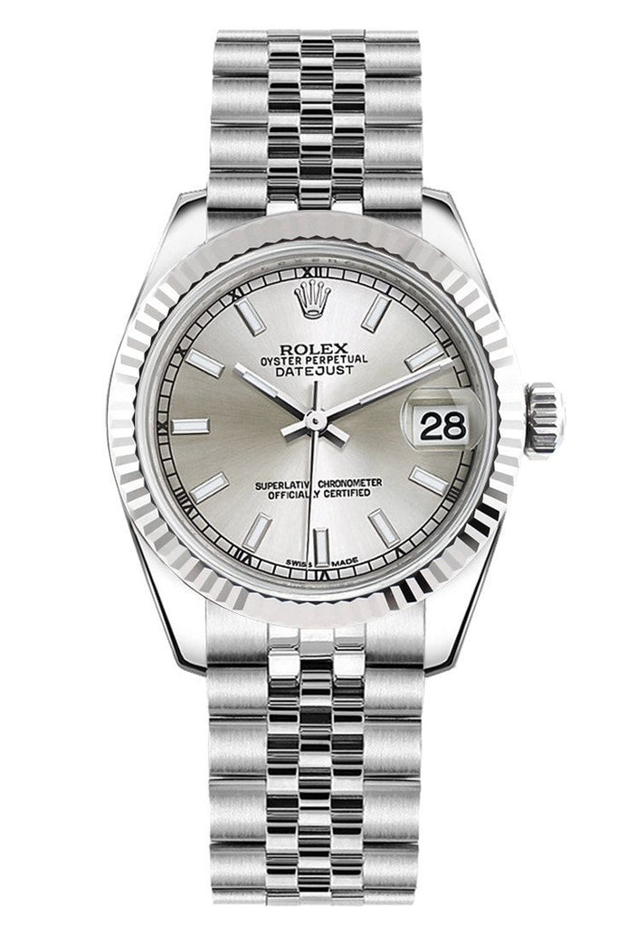 Rolex Datejust 31 Silver Dial White Gold Fluted Bezel Jubilee Ladies Watch 178274
