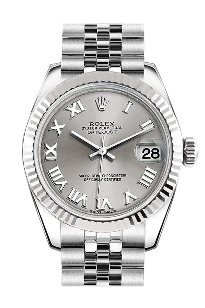 Rolex Datejust 31 Silver Roman Dial White Gold Fluted Bezel Jubilee Ladies Watch 178274 / None
