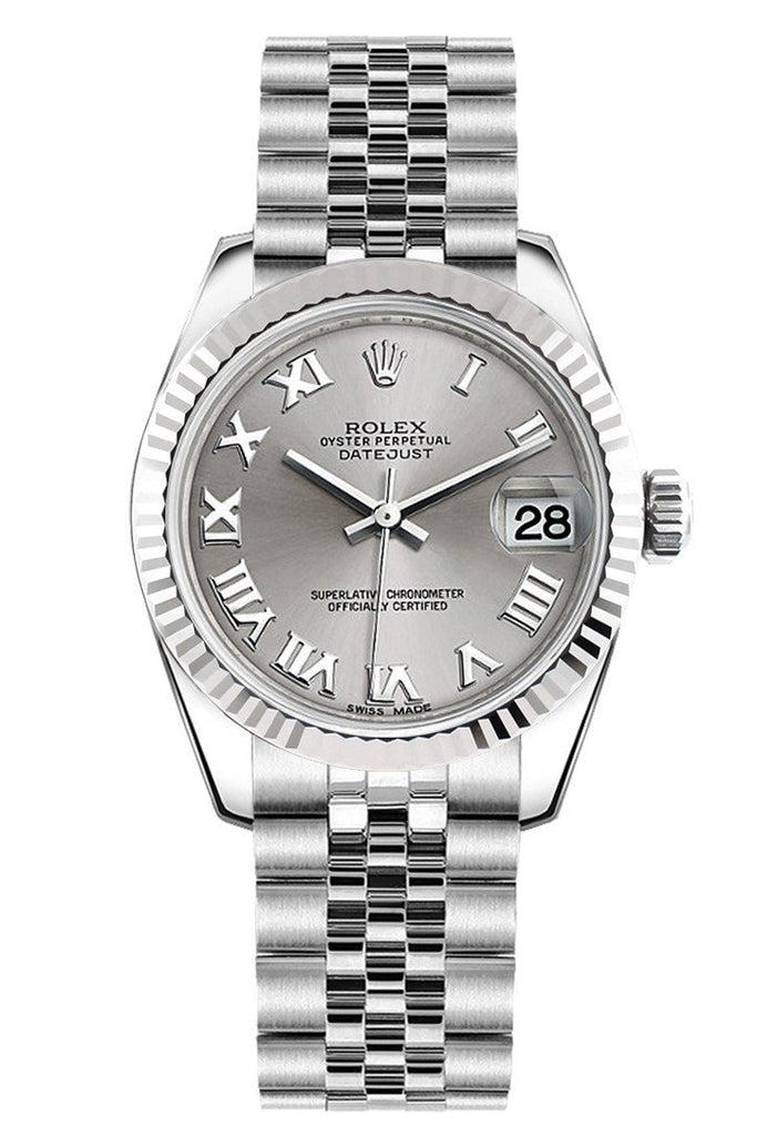 Rolex Datejust 31 Silver Roman Dial White Gold Fluted Bezel Jubilee Ladies Watch 178274