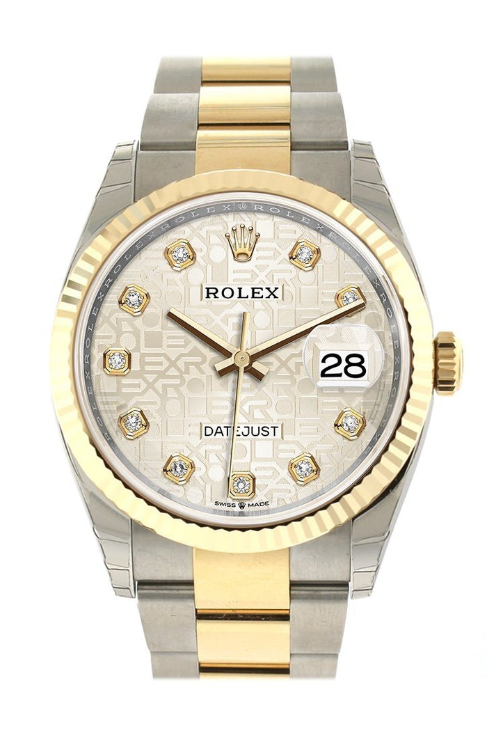 Rolex Datejust 36 Silver Jubilee design set with diamonds Dial Fluted Bezel Oyster Yewllow Gold Two Tone Watch 126233