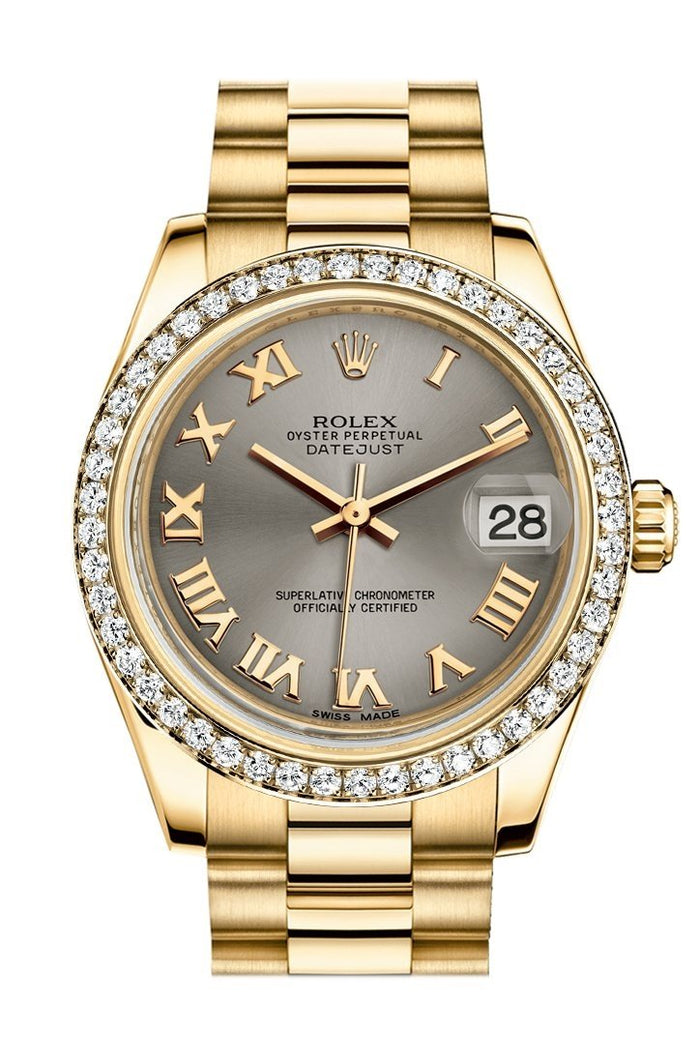 Rolex Datejust 31 Steel Roman Dial Diamond Bezel 18K Yellow Gold President Ladies Watch 178288