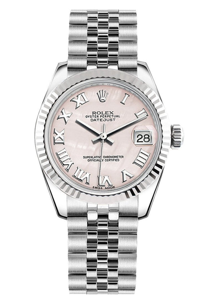 Rolex Datejust 31 Pink Mother of Pearl Roman Dial White Gold Fluted Bezel Jubilee Ladies Watch 178274
