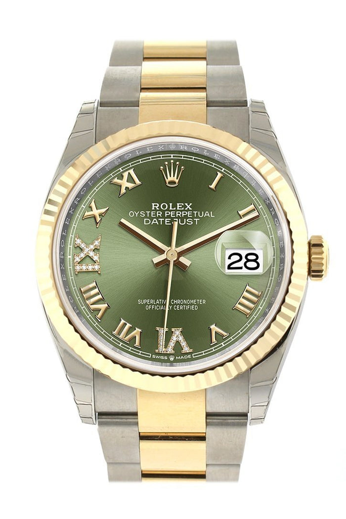 Rolex Datejust 36 Olive green set with diamonds Dial Fluted Bezel Oyster Yewllow Gold Two Tone Watch 126233