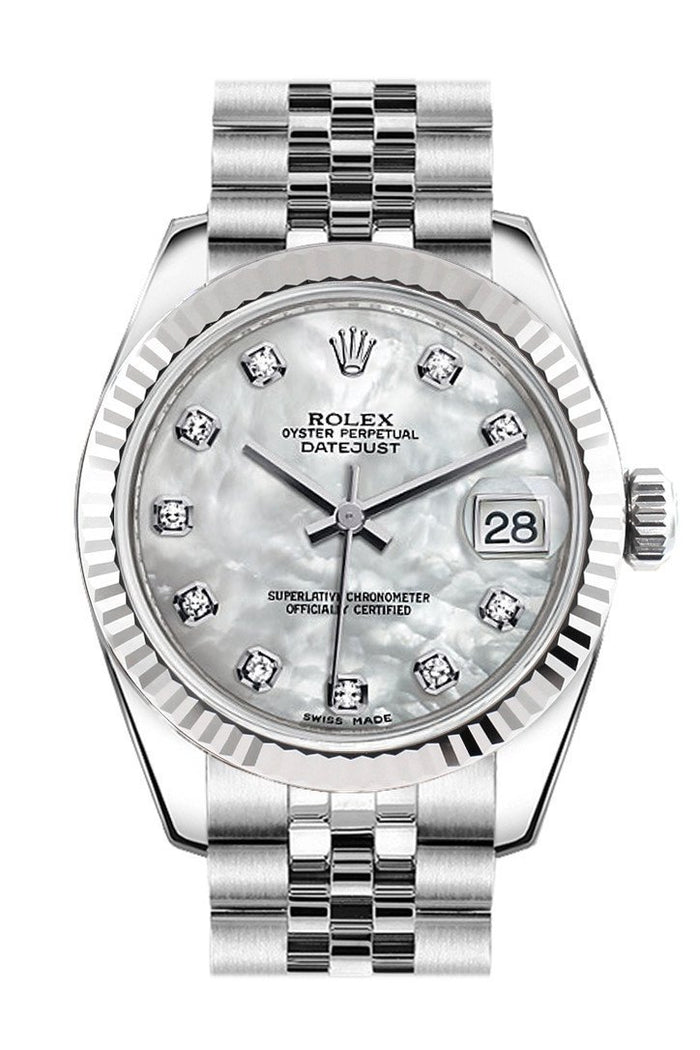 Rolex Datejust 31 White Mother of Pearl Set Diamonds Dial White Gold Fluted Bezel Jubilee Ladies Watch 178274