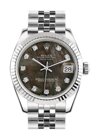 Rolex Datejust 31 Black Mother Of Pearl Set Diamonds Dial White Gold Fluted Bezel Jubilee Ladies