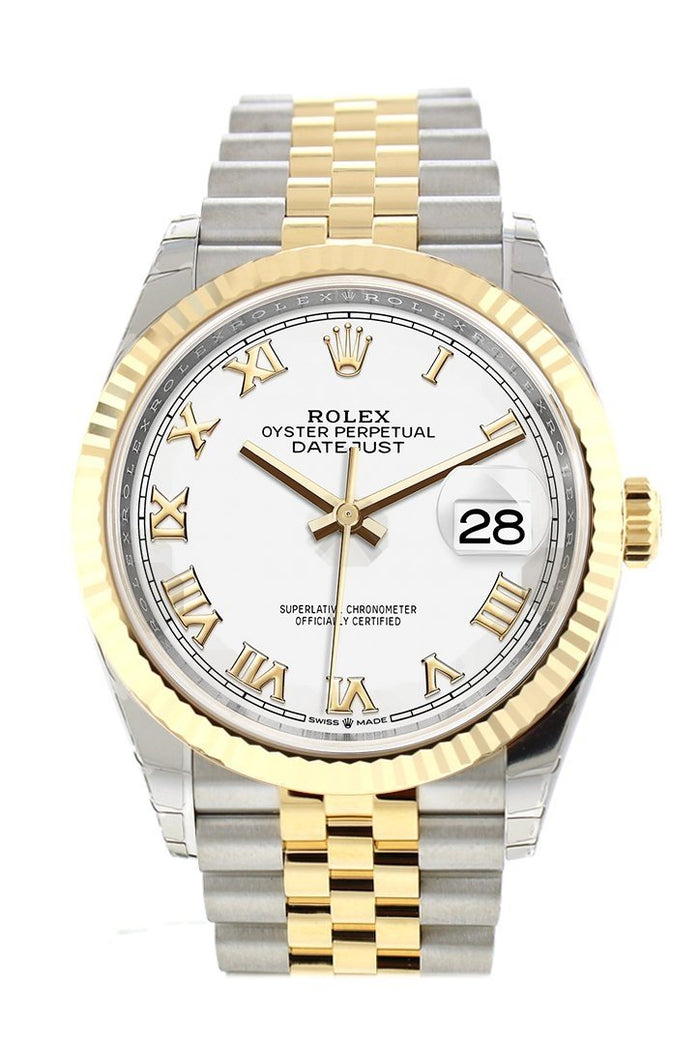 Rolex Datejust 36 White Roman Dial Fluted Bezel Jubilee Yewllow Gold Two Tone Watch 126233