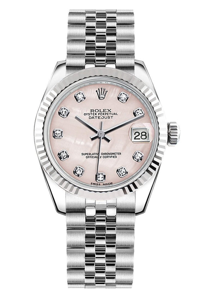 Rolex Datejust 31 Pink Mother of Pearl Set Diamonds Dial White Gold Fluted Bezel Jubilee Ladies Watch 178274