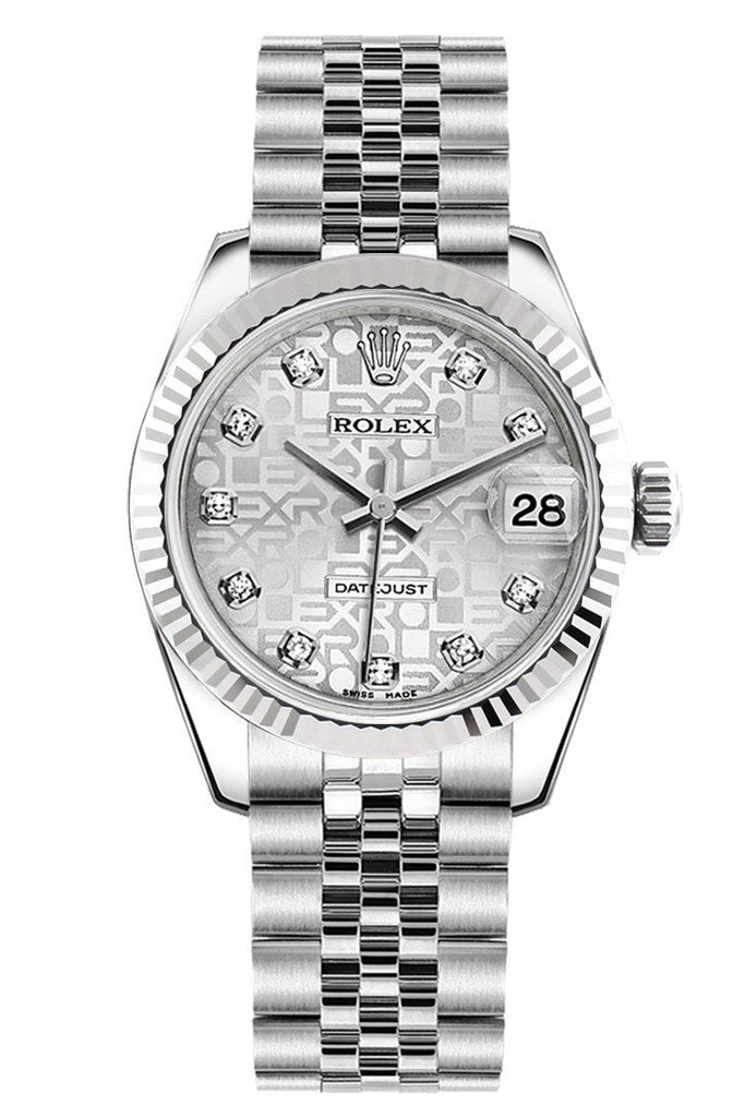 Rolex Datejust 31 Silver Jubilee Set Diamonds Dial White Gold Fluted Bezel Ladies Watch 178274