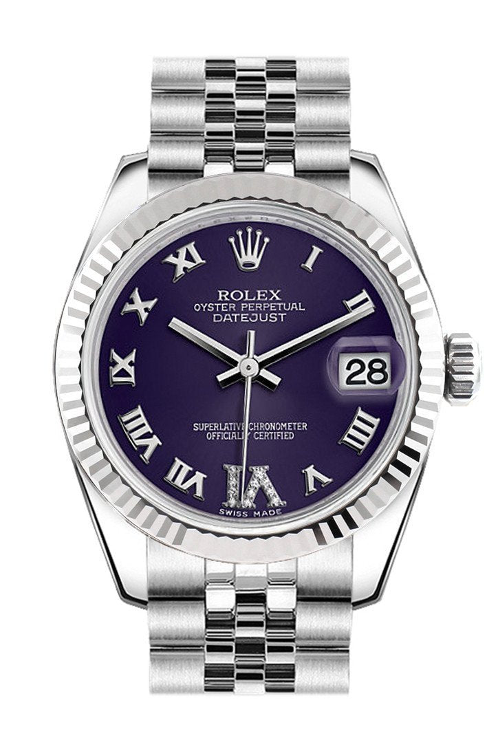 Rolex Datejust 31 Purple Roman Large Vi Diamond Dial White Gold Fluted Bezel Jubilee Ladies Watch