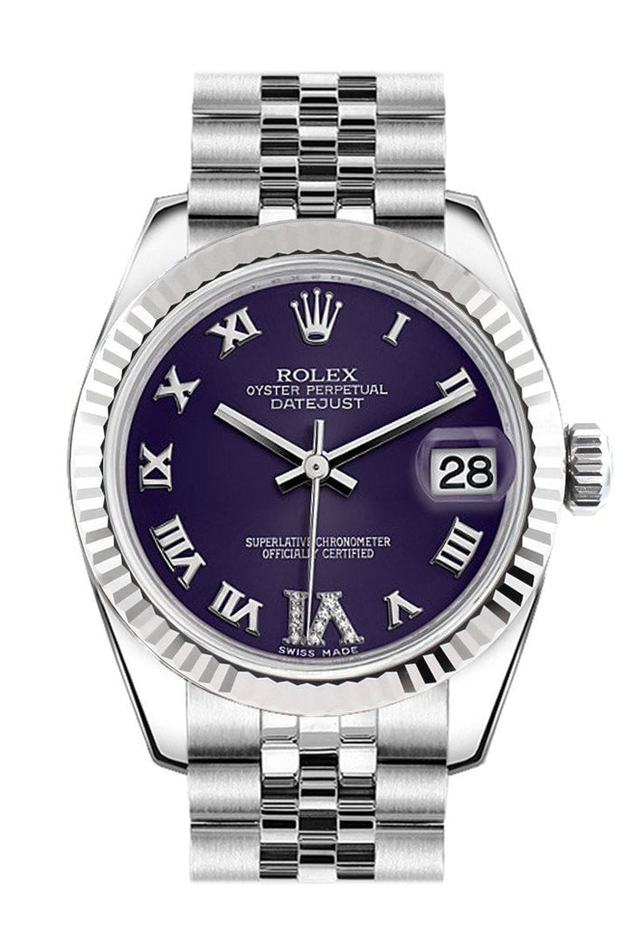 Rolex Datejust 31 Purple Roman Large VI Diamond Dial White Gold Fluted Bezel Jubilee Ladies Watch 178274