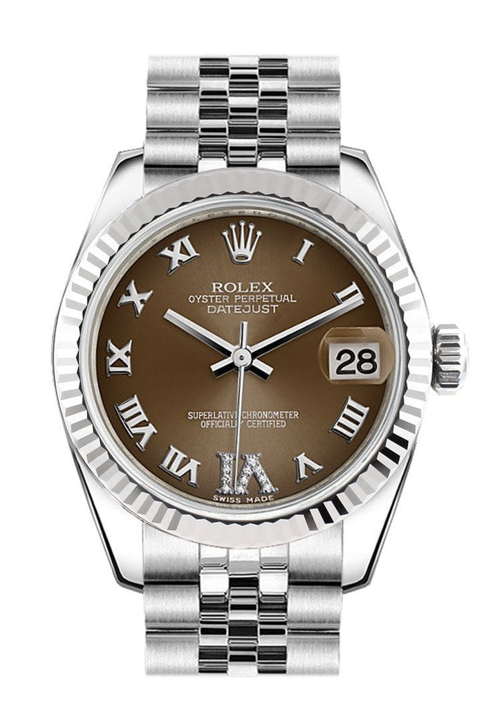 Rolex Datejust 31 Bronze Roman Large VI Diamond Dial White Gold Fluted Bezel Jubilee Ladies Watch 178274