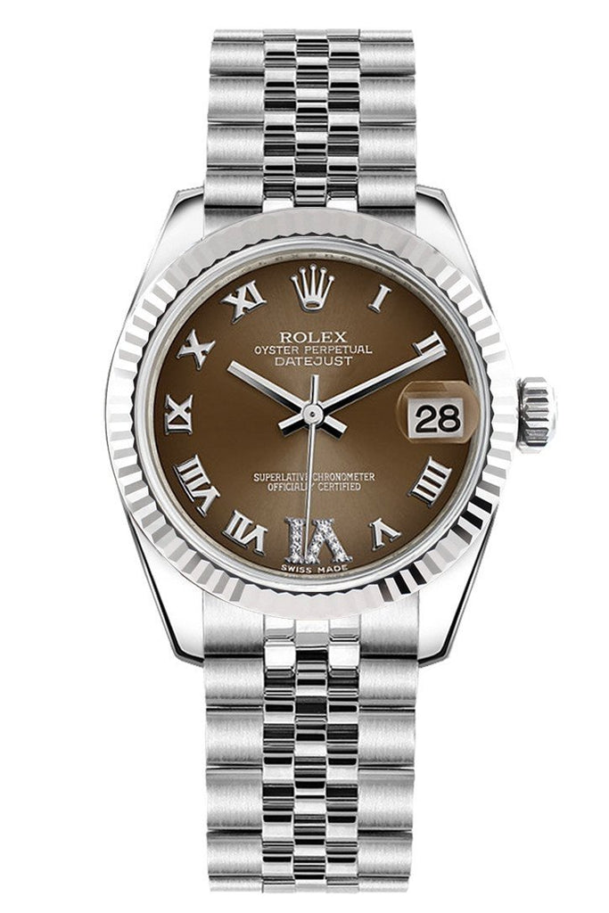 Rolex Datejust 31 Bronze Roman Large Vi Diamond Dial White Gold Fluted Bezel Jubilee Ladies Watch