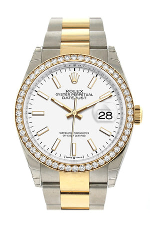 Rolex Datejust 36 White Dial Diamond Bezel Oyster Yellow Gold Two Tone Watch 126283Rbr