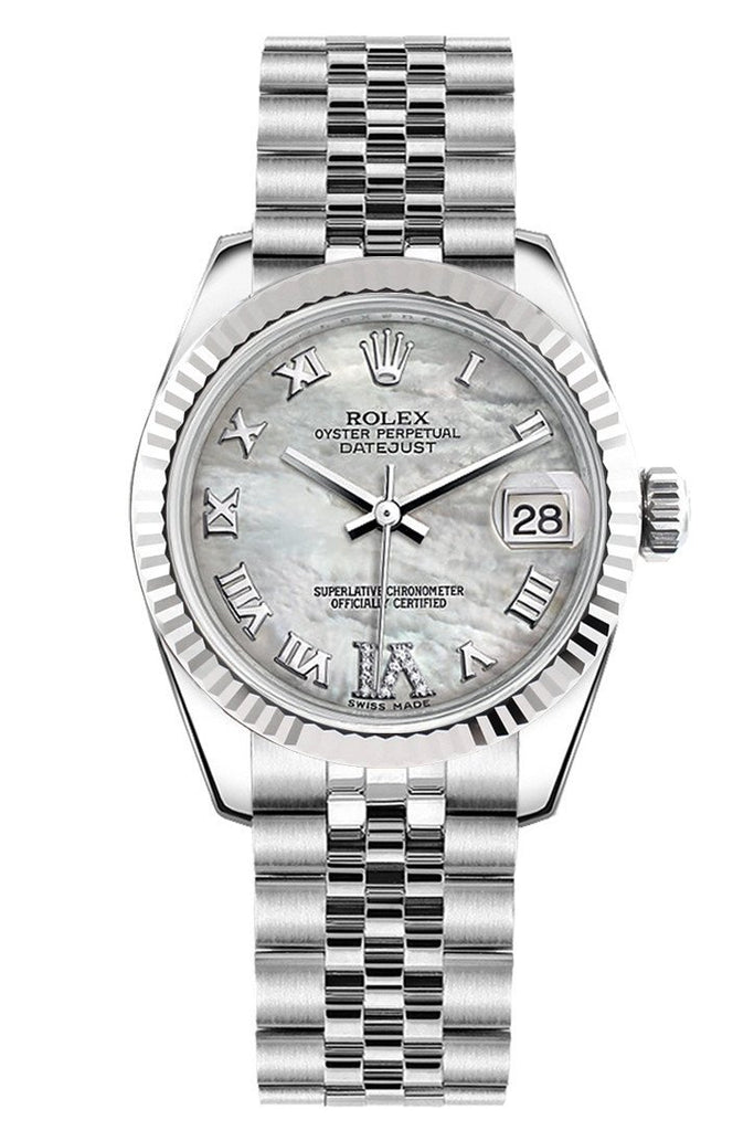 Rolex Datejust 31 White Mother Of Pearl Roman Large Vi Diamonds Dial Gold Fluted Bezel Jubilee