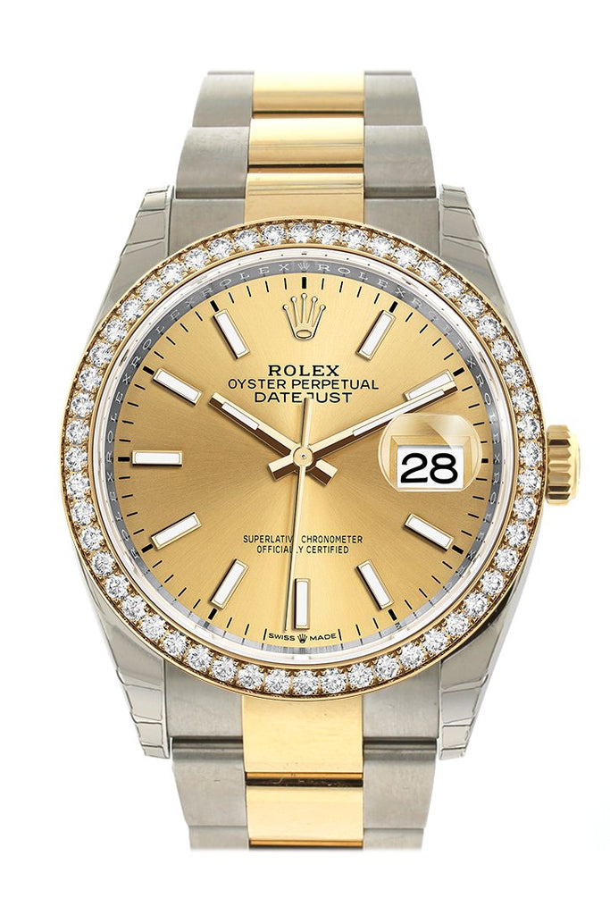 Rolex Datejust 36 Champagne-Colour Dial Diamond Bezel Oyster Yellow Gold Two Tone Watch