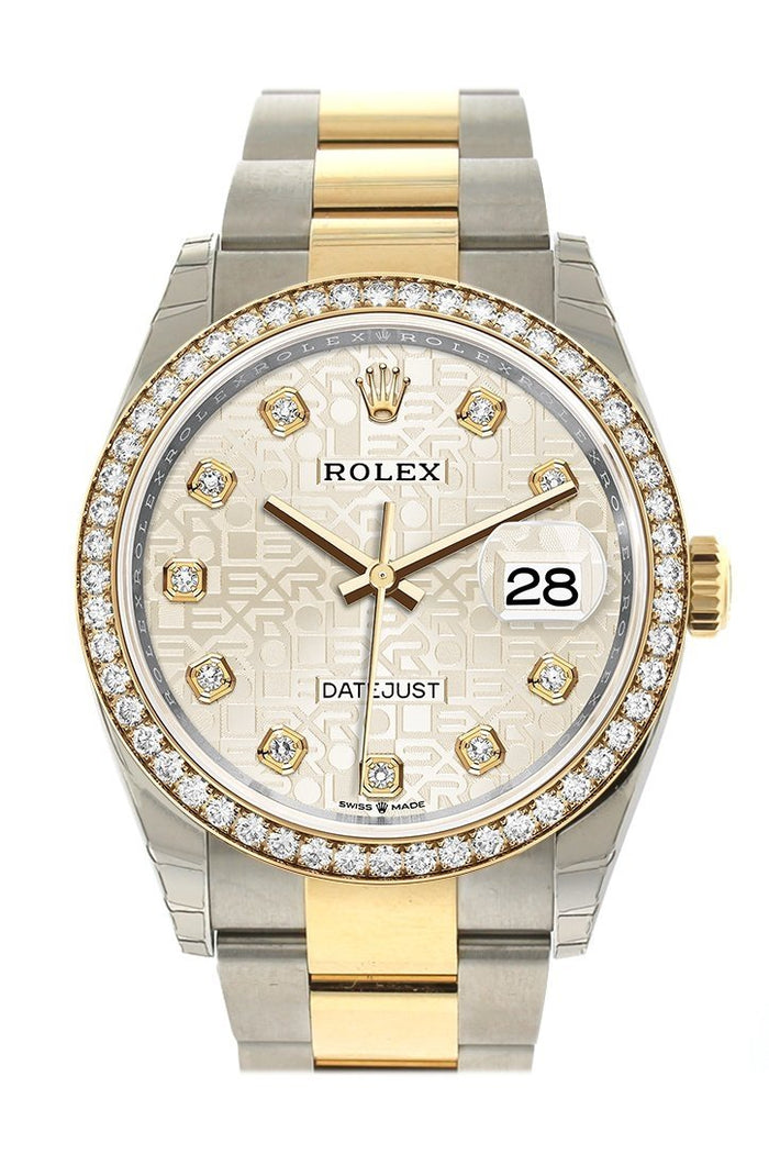 Rolex Datejust 36 Silver Jubilee design set with diamonds Dial Diamond Bezel Oyster Yewllow Gold Two Tone Watch126283RBR
