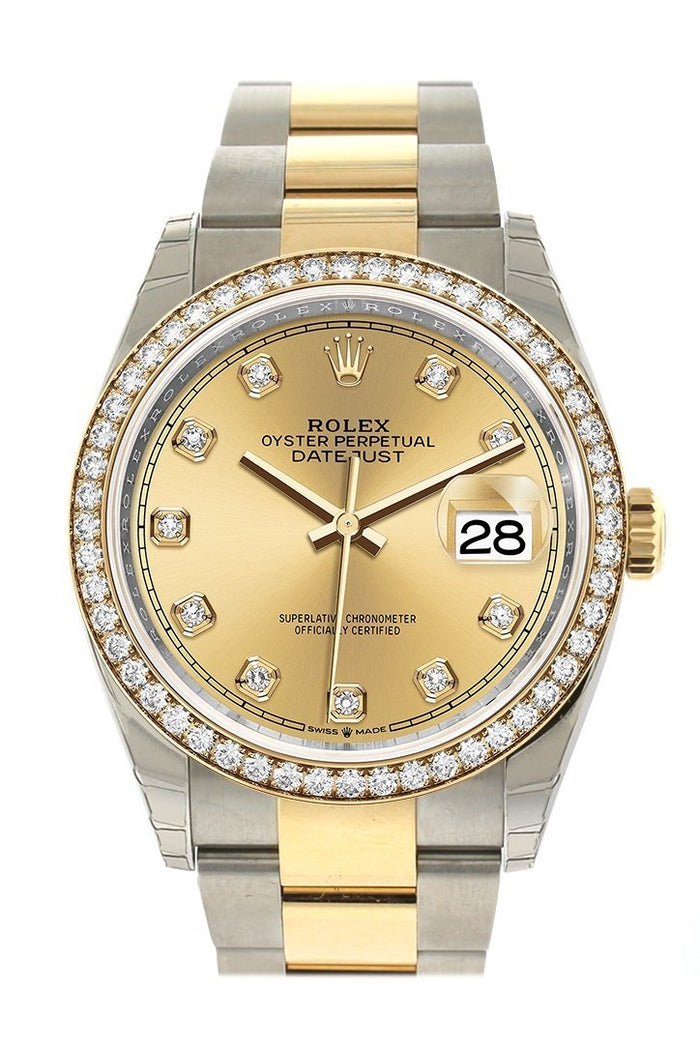 Rolex Datejust 36 Champagne-colour set with diamonds Dial Diamond Bezel Oyster Yewllow Gold Two Tone Watch