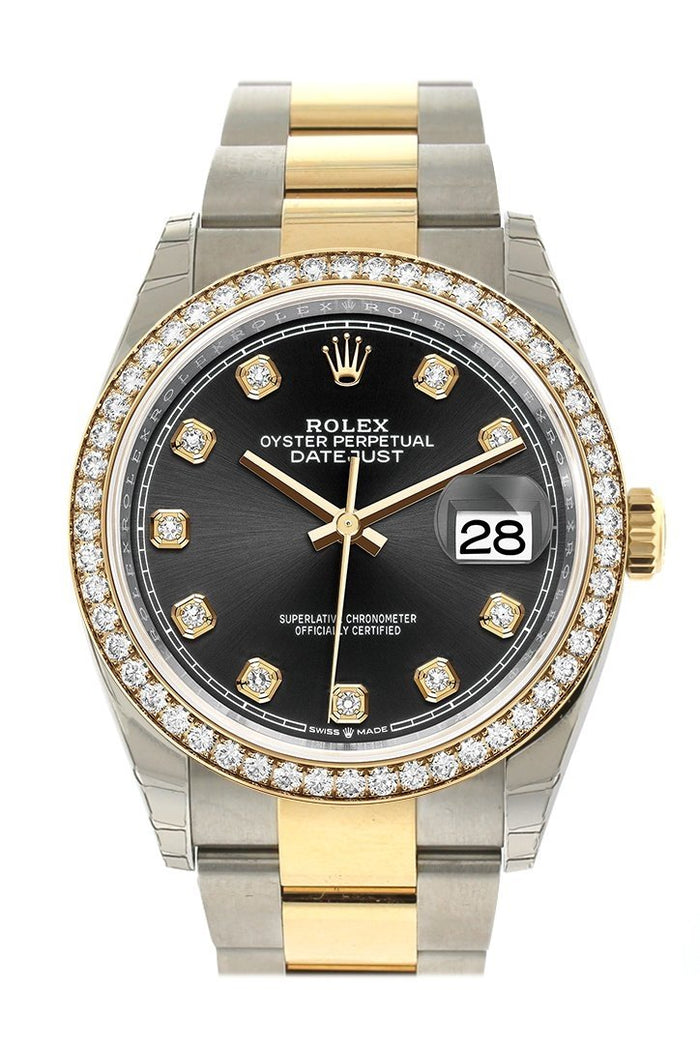 Rolex Datejust 36 Black set with diamonds Dial Diamond Bezel Oyster Yewllow Gold Two Tone Watch 126283RBR