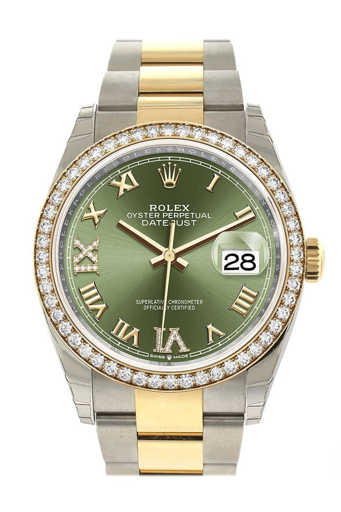 Rolex Datejust 36 Olive green set with diamonds Dial Diamond Bezel Oyster Yewllow Gold Two Tone Watch 126283RBR