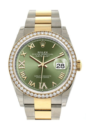 Rolex Datejust 36 Olive Green Diamonds Dial Diamond Bezel Oyster Yellow Gold Two Tone Watch