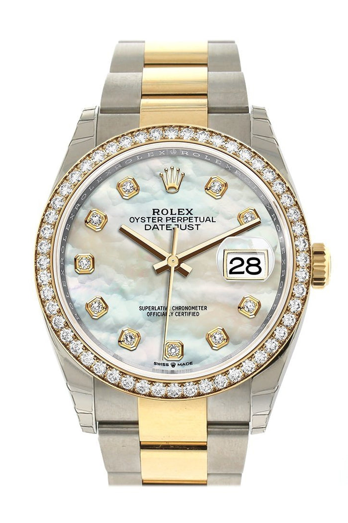 Rolex Datejust 36 White mother-of-pearl set with diamonds Dial Diamond Bezel Oyster Yewllow Gold Two Tone Watch 126283RBR