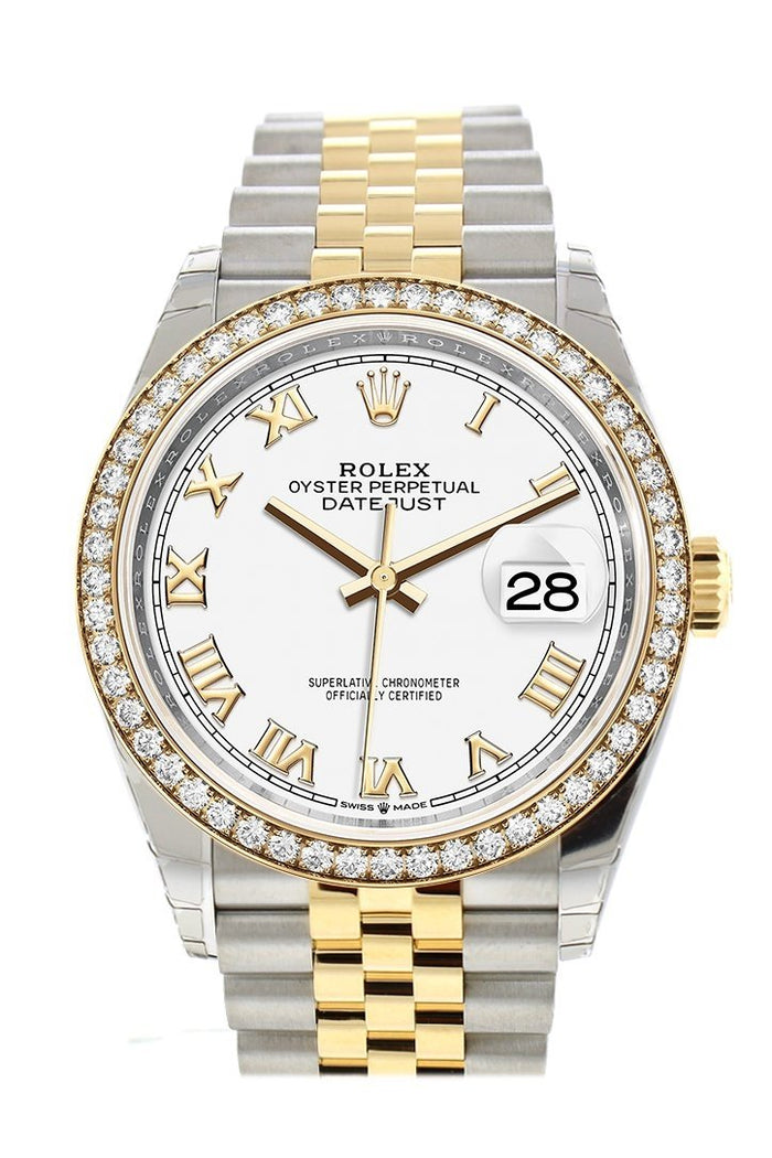 Rolex Datejust 36 White Roman Dial Diamond Bezel Jubilee Yellow Gold Two Tone Watch 126283RBR