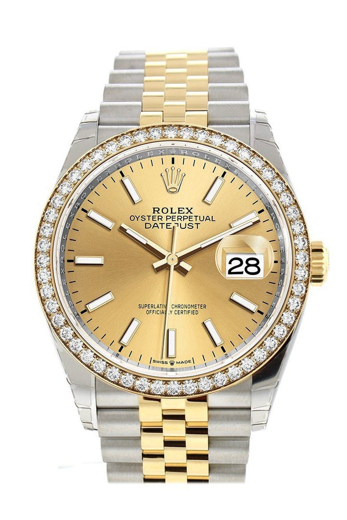 Rolex Datejust 36 Champagne-colour Dial Diamond Bezel Jubilee Yewllow Gold Two Tone Watch 126283RBR