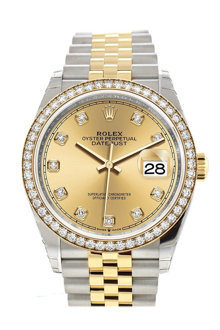 Rolex Datejust 36 Champagne-Colour Set With Diamonds Dial Diamon Bezel Jubilee Yellow Gold Two Tone