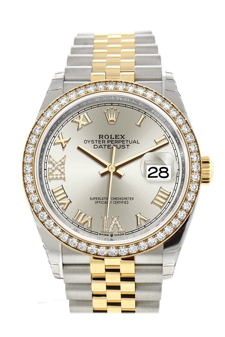 Rolex Datejust 36 Silver Set With Diamonds Dial Diamond Bezel Jubilee Yellow Gold Two Tone Watch