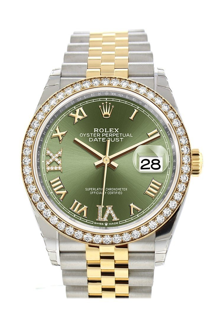 Rolex Datejust 36 Olive Green Set With Diamonds Dial Diamond Bezel Jubilee Yellow Gold Two Tone